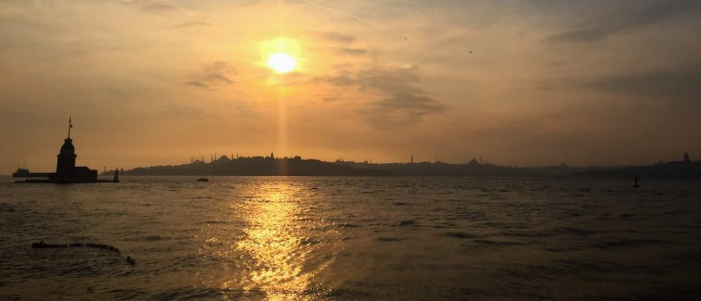 Sunset over Istanbul City