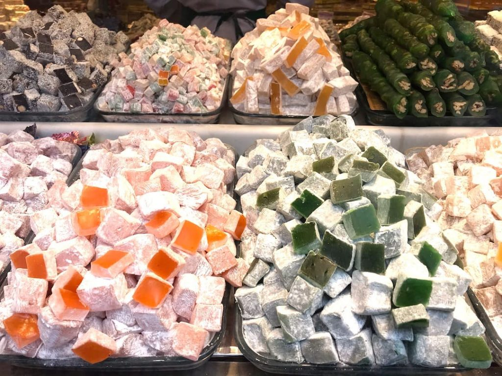 Different colors are different flavors of Turkish Delight